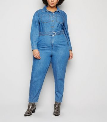 Curves Blue Belted Denim Jumpsuit