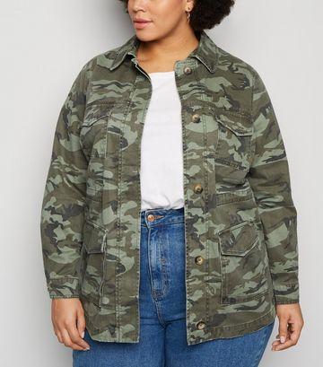 Curves Green Camo Print Light Jacket