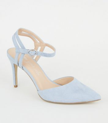Pale Blue Suedette Strappy Pointed