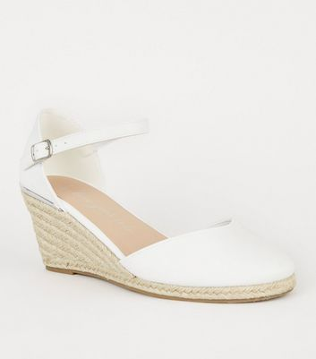 Wide Fit White Leather-Look Espadrille