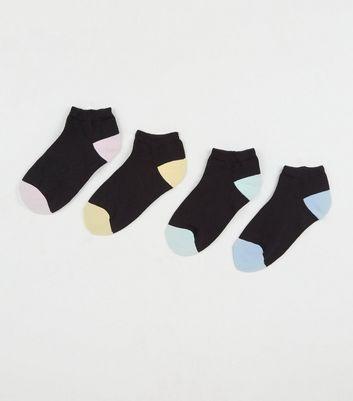 4 Pack Black Colour Block Trainer Socks