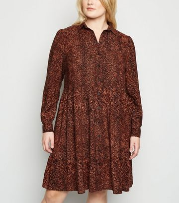 Curves Brown Leopard Print Smock Shirt Dress