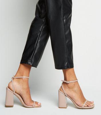 Pale Pink Square Toe Block Heel Sandals