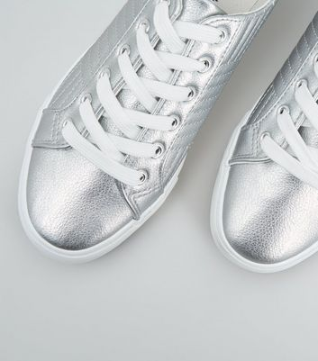 Silver Leather-Look Quilted Lace Up