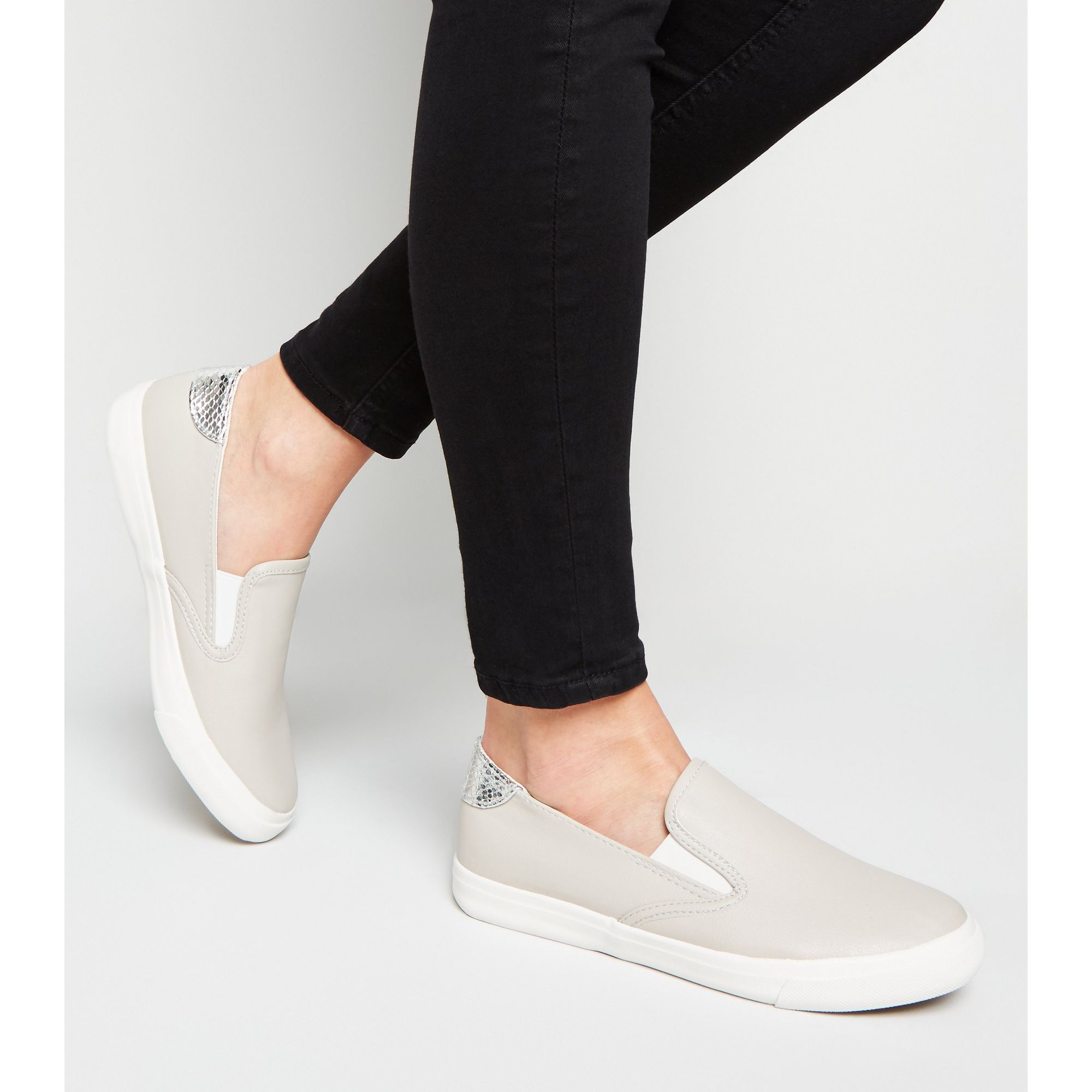 New-Look-Wide-Fit-Leather-Look-Slip-On-Trainers thumbnail 8
