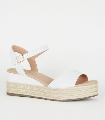 White Leather-Look Espadrille Flatforms