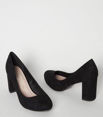 Wide Fit Black Suedette Block Heel