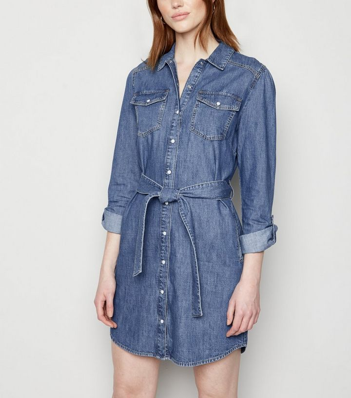 Tall Robe Chemise A Manches Longues En Jean Bleu New Look