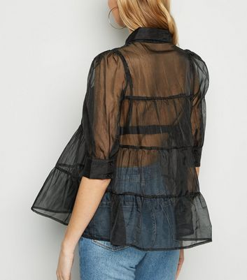 Innocence Black Organza Tiered Shirt New Look