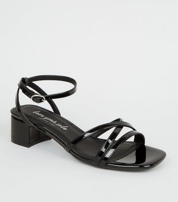 Black Patent Strappy Low Heel Sandals