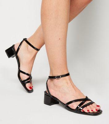 Black Patent Strappy Low Heel Sandals