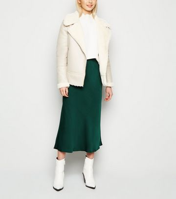 Dark Green Satin Bias Cut Midi Skirt