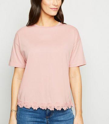 Pink Floral Crochet Hem T-Shirt