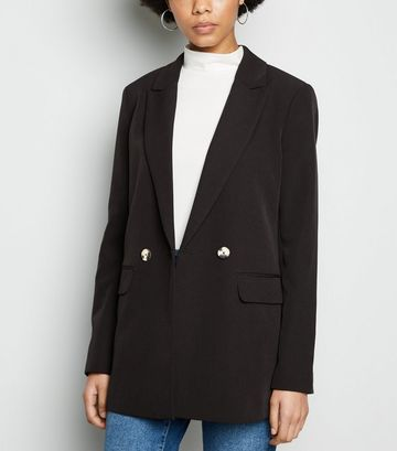 Black Double Breasted Long Sleeve Blazer