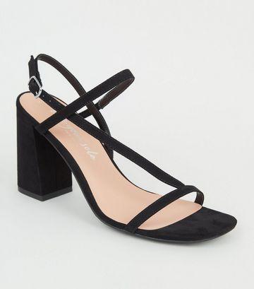Black Suedette Asymmetric Strap Block Heel Sandals
