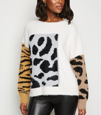 Cameo Rose Off White Mixed Animal Print Jumper | New Look