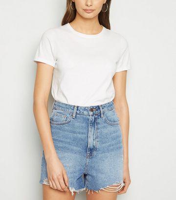 Tall Blue High Waist Denim Mom Shorts