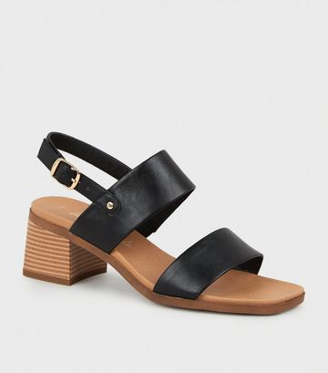 Black Leather-Look 2 Strap Block Heel Sandals