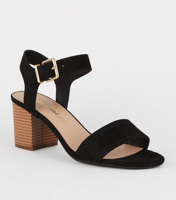 Black Suedette Wood Block Heel Sandals