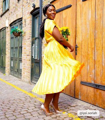 Mustard Stripe Satin Pleated Midi Dress