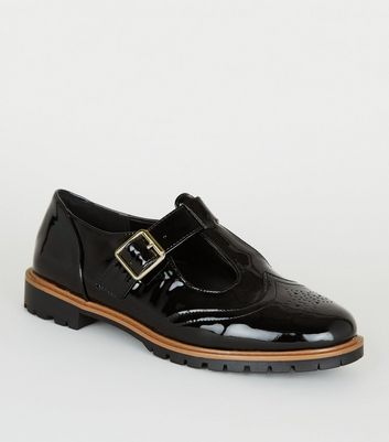 Wide Fit Black Patent Mary Jane Shoes