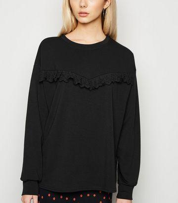 Black Lace Trim Crew Sweatshirt