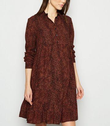 Maternity Brown Leopard Print Smock Dress