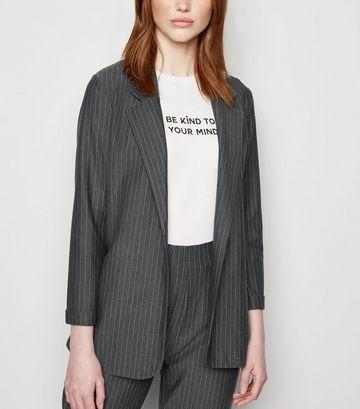 Tall Grey Pinstripe Jersey Blazer