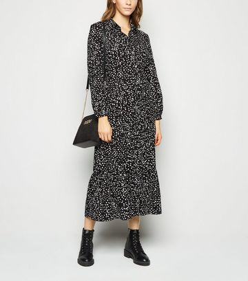 Black Spot Tiered Midi Shirt Dress
