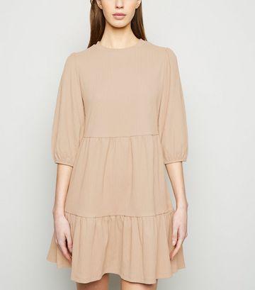 Camel Puff Sleeve Smock Dress