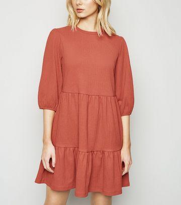Rust Puff Sleeve Smock Dress