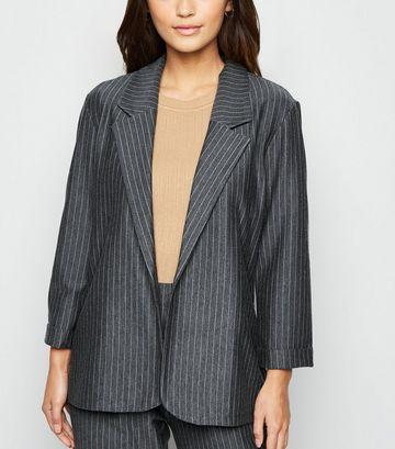 Petite Grey Pinstripe Long Jersey Blazer
