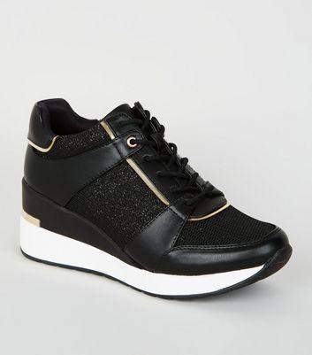Black Leather-Look Glitter Panel Wedge