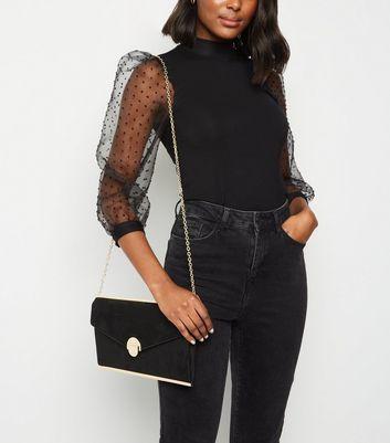 shop for Black Suedette Envelope Clutch Bag New Look Vegan at Shopo