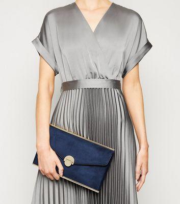 shop for Navy Suedette Envelope Clutch Bag New Look Vegan at Shopo