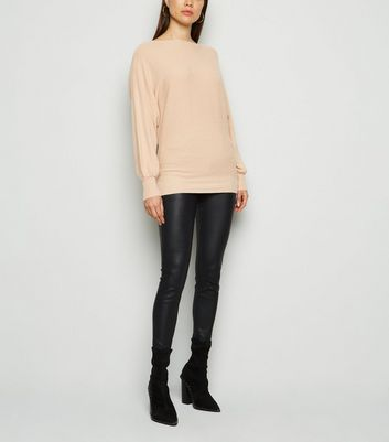 QED Camel Textured Knit Batwing Jumper New Look