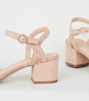 Wide Fit Pale Pink Suedette Low Heel