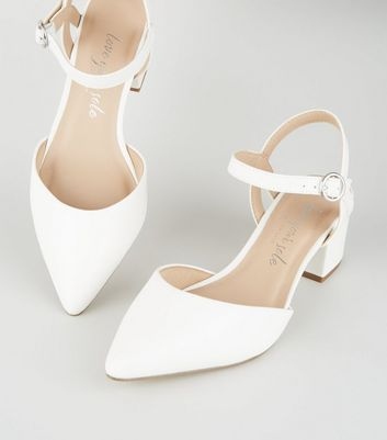 Wide Fit White Leather-Look Low Heel