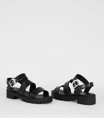Girls Black Faux Croc Chunky Sandals