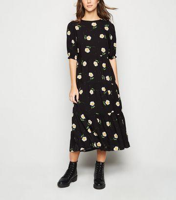 Black Daisy Floral Puff Sleeve Tiered Midi Dress