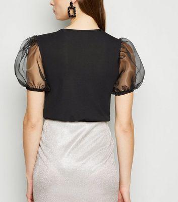 Influence Black Organza Sleeve Bodysuit New Look