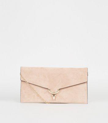 shop for Pale Pink Suedette Clutch Bag New Look Vegan at Shopo