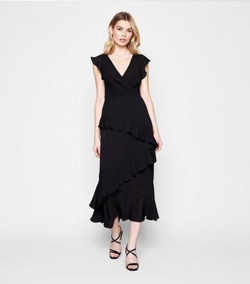 Black Frill Wrap Midi Dress