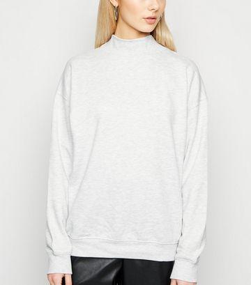 Pale Grey High Neck Sweatshirt
