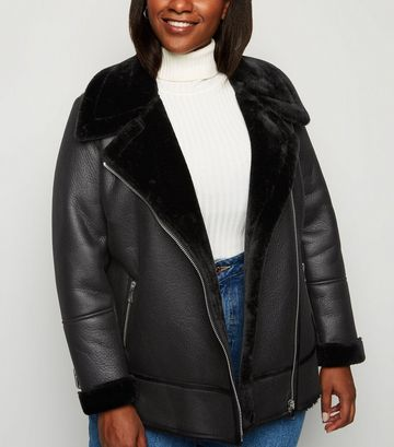 Curves Black Faux Fur Lined Aviator Jacket
