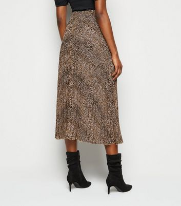 Click to view product details and reviews for Brown Animal Print Pleated Midi Skirt New Look.