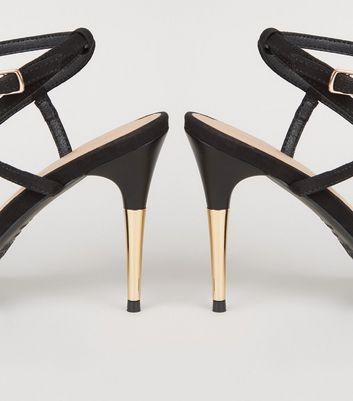 shop for Black Suedette V Strap Stiletto Sandals New Look at Shopo