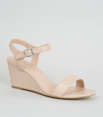 Wide Fit Pale Pink 2 Part Wedge Sandals