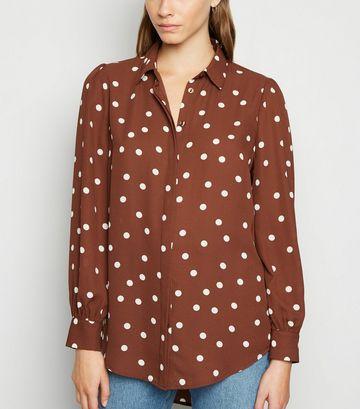 Brown Spot Dip Hem Long Sleeve Shirt
