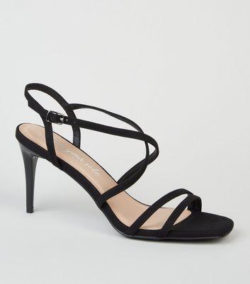 shop for Black Suedette Strappy Stiletto Sandals New Look Vegan at Shopo